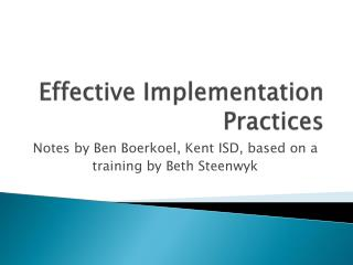 Effective Implementation Practices