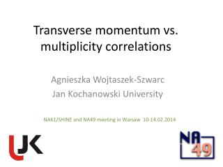 Transverse momentum vs. multiplicity correlations