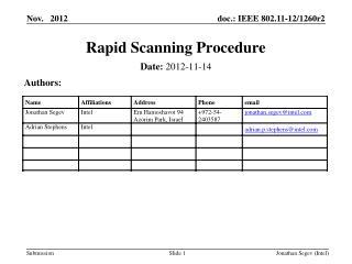 Rapid Scanning Procedure