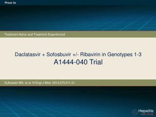 Daclatasvir +  Sofosbuvir  +/- Ribavirin in Genotypes 1-3 A1444-040 Trial