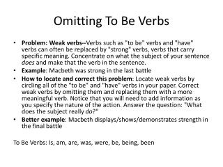 Omitting To Be Verbs