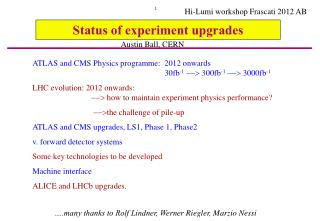 Status of experiment upgrades