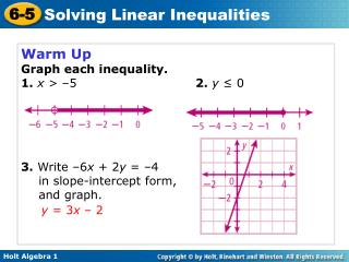 Warm Up Graph each inequality. 1.  x  > –5  2. y  ≤ 0 3.  Write  – 6 x  + 2 y  =  – 4