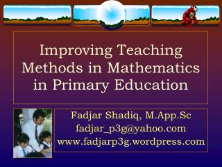 Improving Teaching Methods in Mathematics in Primary Education