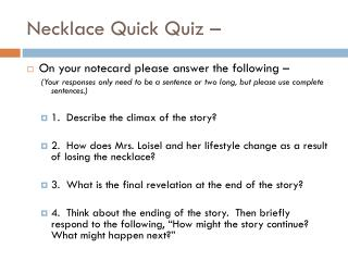 Necklace Quick Quiz –