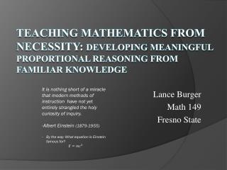 Lance Burger Math 149 Fresno State