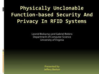 Physically Unclonable Function-based Security And Privacy In RFID Systems