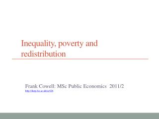 Inequality, poverty and redistribution