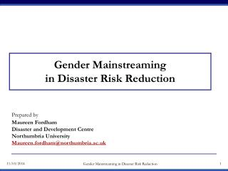 Gender Mainstreaming in Disaster Risk Reduction