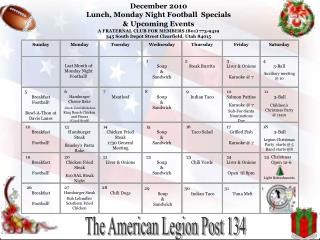 December  2010 Lunch, Monday Night Football  Specials  & Upcoming Events