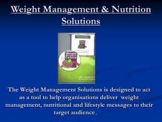 Weight Management  Nutrition Solutions