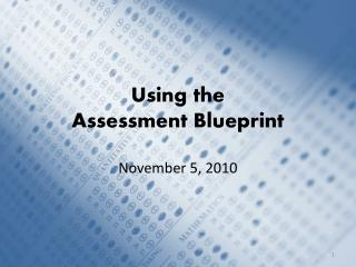 Using the  Assessment Blueprint