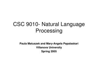 CSC 9010- Natural Language Processing