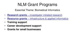National Library of Medicine funding programs