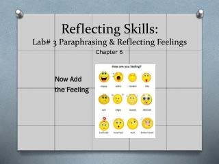 Reflecting Skills:  Lab# 3 Paraphrasing & Reflecting Feelings