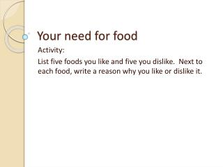 Your need for food