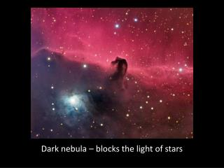 Dark nebula – blocks the light of stars