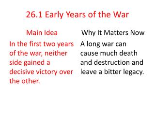 26.1  Early Years of the War