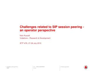 Challenges related to SIP session peering - an operator perspective