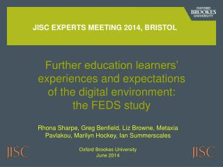 JISC experts meeting 2014, Bristol