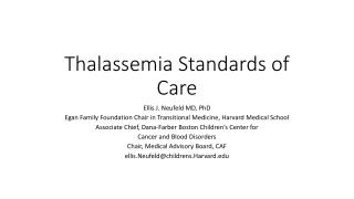 Thalassemia Standards of Care