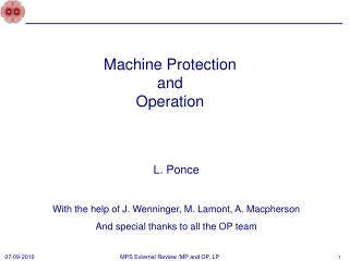 Machine Protection  and  Operation