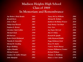 Madison Heights High School Class of 1969 In Memoriam and Remembrance