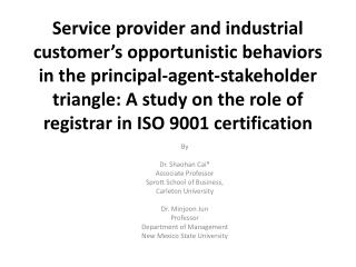 By Dr.  Shaohan Cai * Associate Professor  Sprott  School of Business,  Carleton  University