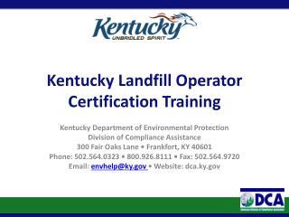 Kentucky Landfill Operator Certification Training