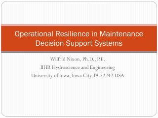 Operational Resilience in Maintenance Decision Support Systems