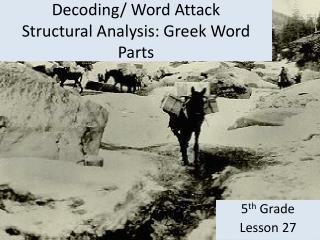 Decoding/ Word Attack Structural Analysis: Greek Word Parts