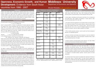 Middlesex  University Department of Economics and Statistics  Ghulam Mustafa  G.Mustafa@mdx.ac.uk