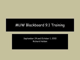 MUW Blackboard 9.1 Training