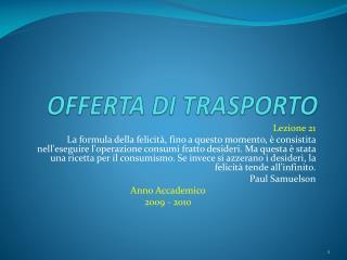 OFFERTA DI TRASPORTO