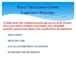 Waco / McLennan County Legislative Priorities