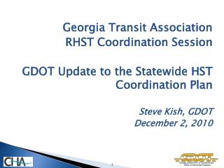 Georgia Transit Association  RHST Coordination Session