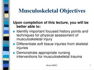 Musculoskeletal Objectives