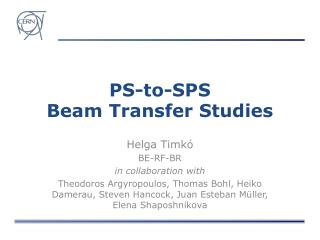 PS-to-SPS Beam Transfer Studies