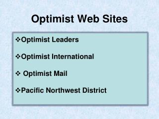 Optimist Web Sites