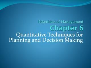Essentials of Management Chapter  6