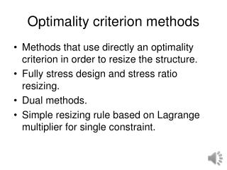 Optimality criterion methods