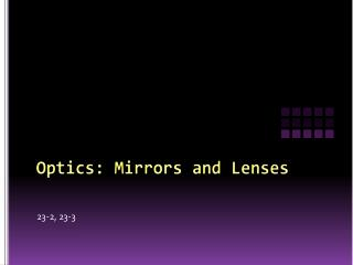 Optics: Mirrors and Lenses