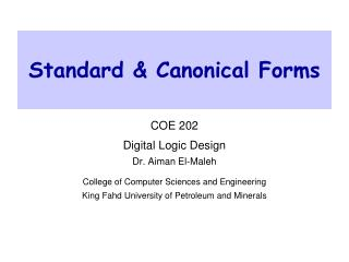 Standard & Canonical Forms