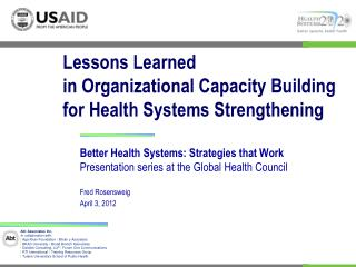 Lessons  Learned in  Organizational Capacity Building  for  Health Systems Strengthening