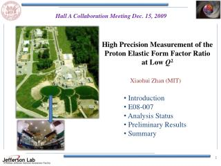 High Precision Measurement of the Proton Elastic Form Factor Ratio at Low  Q 2