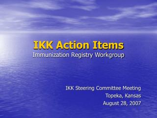 IKK Action Items Immunization Registry Workgroup