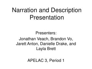 Narration and Description  Presentation