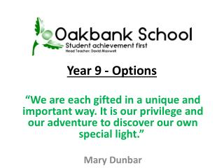 Year 9  - Options