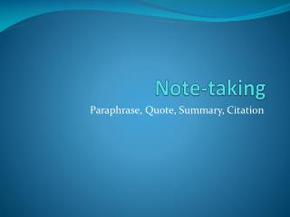 Note-taking