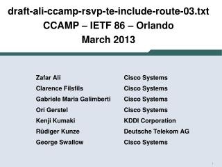 draft-ali-ccamp-rsvp-te-include-route-03.txt CCAMP  –  IETF  86 – Orlando March 2013